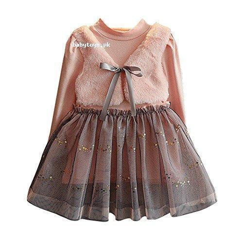 9695cae0d1b6a Toddler Kids Baby Girl Winter Clothes Bowknot Pullovers Patchwork ...