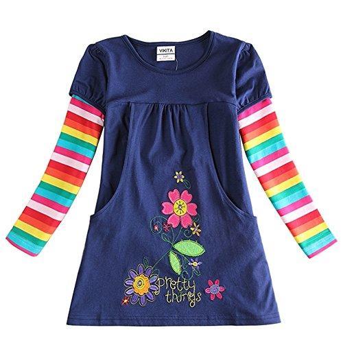 83f51a0b4527 VIKITA toddler girl flower dress cotton long sleeve little girls ...