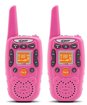 Eoncore Walkie Talkies for Kids Two Ways Radio Toy Long Range 22 Channels 10 call tone Build-in Flashlight Pink
